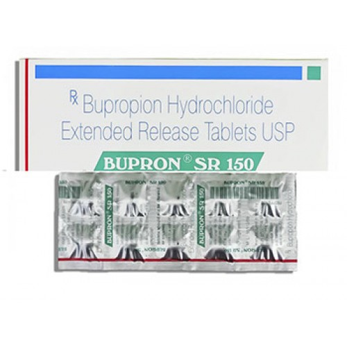 White backgrounded image of generic bupropion sr 150mg medicine and bupronian cover